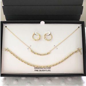 Diamond Accent 18k Over Fine Silver Jewelry Set